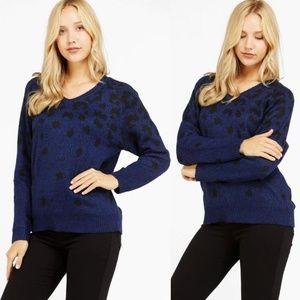 Dark Blue Black Leopard Warm Cozy V-Neck Sweater